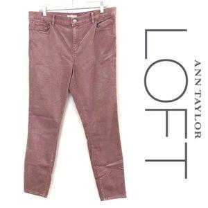 LOFT pink straight leg corduroy pants size 12